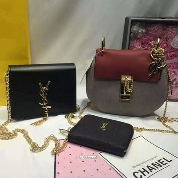 DCCKNT Year-End Promotion 3 Pcs Of Bags Combination (Chloe Bag ,YSL Little Bag ,YSL Wallet)