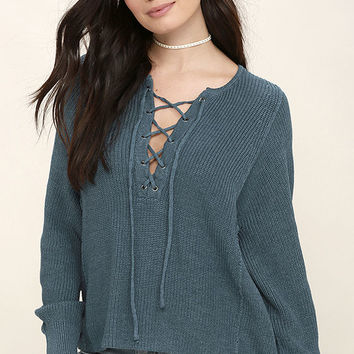 Yours Always Slate Blue Lace-Up Sweater