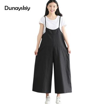 2017 Cotton Linen Spaghetti Strap Black Jumpsuits Pants Loose Summer New Women Casual Sleeveless Grey Jumpsuits Dunayskiy