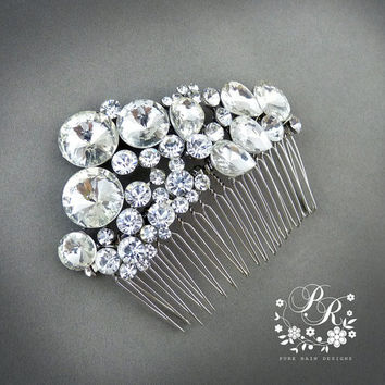Unique Rhinestone & Crystal Bridal hair tiara comb Wedding Hair accessory
