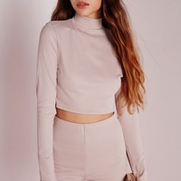 Missguided - Ribbed Long Sleeve Crop Top Nude