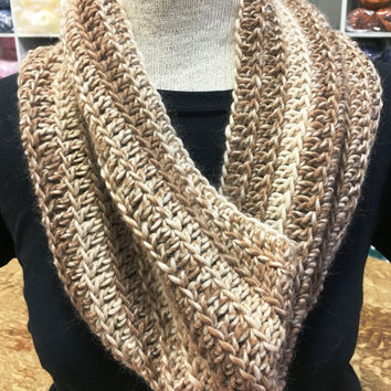 Kay's Crochet Beige Cowl Made with Baby Alpaca Yarn