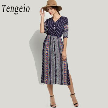 Tengeio Women Summer Bohemian Indian Dress Casual Half Sleeve Side Split Floral boho clothing Retro Robe Striped beach Dress 610