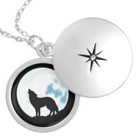 Howl of the Wolf Sterling Silver Locket Necklace