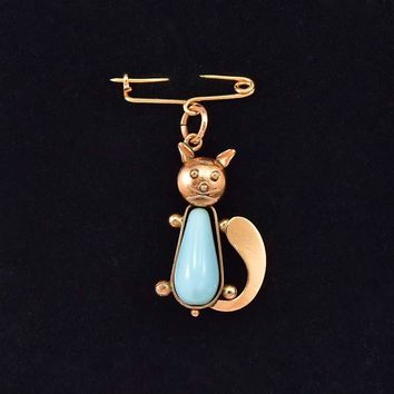 Delightful 14K Rose Gold Turquoise Cat Brooch Pendant
