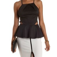 Black Strappy Cut-Out Peplum Tank Top by Charlotte Russe