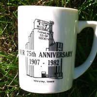 Vintage collectible coffee cup commemorating the 75th Anniversary, 1907-1982, for the Farmers Co-Op Society in Wesley, Iowa