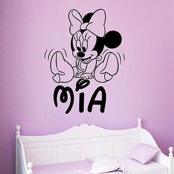 Mickey Mouse Wall Decals Personalized Name Girl Decal Nursery Room Decor DS407