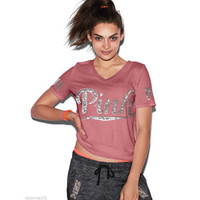Victoria's Secret PINK V-collar Sequins Print Tee Shirt T-shirt