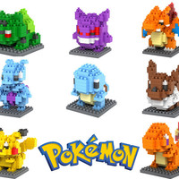 Pokemon Figures Model Toys Pikachu Charmander Bulbasaur Squirtle Mewtwochild Eevee Child Christmas gift 9+ Anime Building Blocks