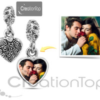 Personalized charm for any Pandora bracelet Memory charm bead with your own design Mother's day gift