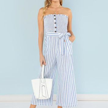 Beach Button Accent Shirred Panel Striped Strapless Jumper
