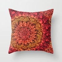 Ruby & Garnet Doodle Throw Pillow by Micklyn