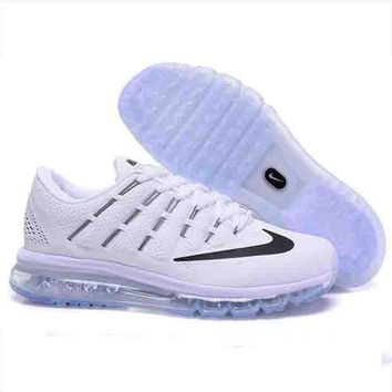 Tagre™ NIKE Trending AirMax Toe Cap hook section knited Fashion Casual Sports Shoes Black blue zebra(black hook)transparent sole