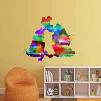 kcik2135 Full Color Wall decal Watercolor Character Disney Lady and the Tramp children's room Sticker Disney