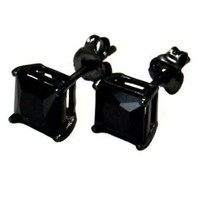 925 Sterling Silver Princess Cut Black Cubic Zirconia Stud Earrings