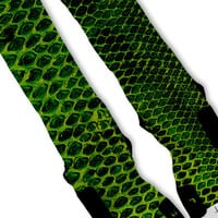 Green Snake Skin Kobe  Lebron 11 Fast Shipping!! Nike Elite Socks Customized Lebron 11 Scales
