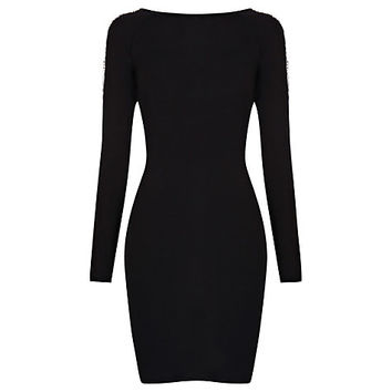 Buy Warehouse Low Back Embellished Dress, Black online at John Lewis