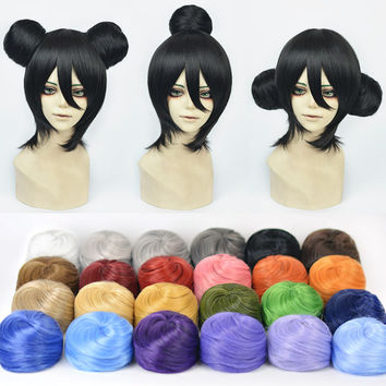 Bun Japanese Anime Games Character Cosplay Natural Daily Synthetic Hair Ball Wraps Drawstring Hairpieces Full Lace Wigs