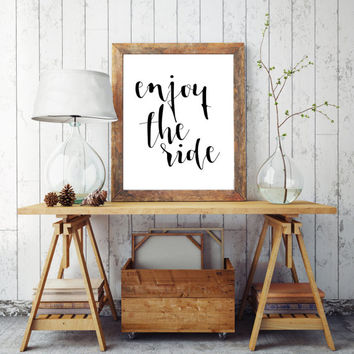 "PRINTABLE ART ""Enjoy The Ride"" Printable Wall Art Bicycle Art Typography Calligraphy  Instant Download Typography Print Word Art Poster Art"