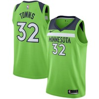 Karl-Anthony Towns Minnesota Timberwolves # 32 Nike Green Swingman Statement Edition Jersey - Best Deal Online