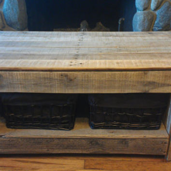Reclaimed Pallet wood coffee table with storage bins