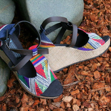 Vegan Womens Sandals In Laos Embroidery, Faux Leather Straps, Wedge Heel - Leighanna