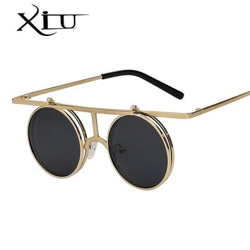 XIU Flip Up Polarized Sunglasses Classic Steampunk Men Women Sunglasses Metal Top Quality Brand Designer Vintage Glasses UV400