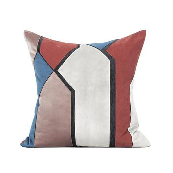 """Blue Red Picasso Style Pillow 20""""X20"""""""