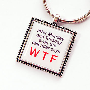 Funny Key Ring, Funny Key Chain, Keychain, keyring, stocking stuffer, under 10, WTF Key chain, WTF Key Ring, Humor, WTF (4399)