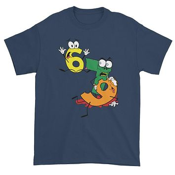 Why was 6 Afraid of 7 Seven Ate Nine Cute Zombie Pun Short sleeve t-shirt