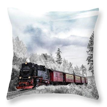 Train In Winter - Throw Pillow