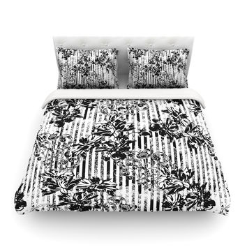 "Victoria Krupp ""Stripes And Flowers"" Black White Digital Featherweight Duvet Cover"