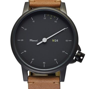 Men's Miansai 'M24' Round Leather Strap Watch, 35mm - Tan/ Black