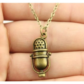 Simple Vintage Antique Bronze Color Microphone Pendant Necklace