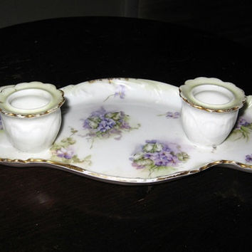 French Double Candle Plate vintage 1950s 50s Holder Porcelain China Purple Violets Shabby Cottage Country
