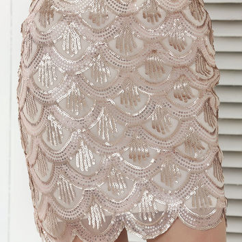 Beige Fish Scale Pattern Sequined Skirt