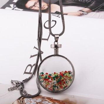 N673 Long Chain Pendant Necklaces Fashion Jewelry for Women Round Glass Crystal Necklace Collares