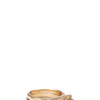 FOREVER 21 Rhinestone Bar Ring Set Clear/Gold