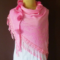 Pink Love Scarf Women's Fall Fashion Lace Scarf  Triangle scarf  Cowl Scarf Women Scarf Winter Accessories Cowl Scarf Shawl Net Scarf Tassel