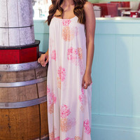 Coral Floral Crinkle Maxi Dress