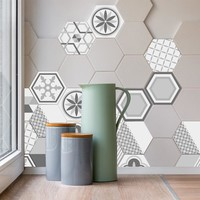 10PCS Creative Geometric Hexagonal 3D Tile Sticker Waterproof Backsplash Easy to Removable Non-slip Wall Stciker for Kitchen Bat