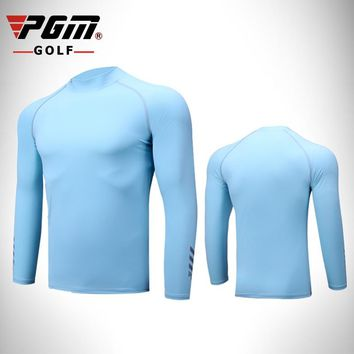 PGM golf Sports Shirts Summer men's long-sleeved sun protection clothing ice silk Lycra Breathable Quick Dry bottoming shirt