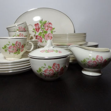 Vintage Taylor Smith & Taylor's Versatile - Pink Floral, Cherry Blossom Set of 36 - Pink, Cream, and Platinum China - Mid Century Modern
