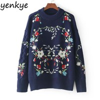 Women Floral Embroidery Oversized Sweater Casual Long Sleeve Knitted Pullover Cozy Warm Autumn Winter Sweaters