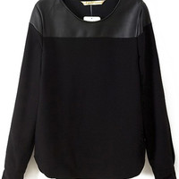 Contrast PU Black Blouse