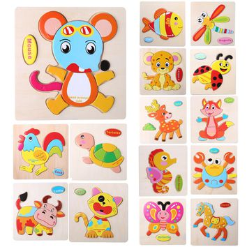 Baby Kids Wooden Cartoon Animals Dimensional Puzzle Toy Force Children Jigsaw Puzzle Education Learning Tools 14 Style Animal