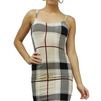 Plaid Pattern Cami Spaghetti Straps Stretchy Bodycon Mini Dress