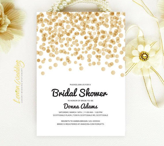 bridal shower invitation gold and black from lemonwedding on
