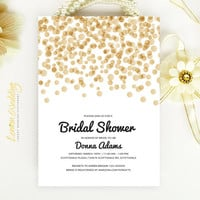 Bridal Shower Invitation - Gold and black confetti wedding shower invitation Printed on luxury white or cream pearlescent paper